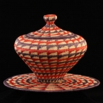 Geometric Design Lidded Basket and Plate
