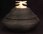 "5"" Baleen Basket with Double Whale Tail Finial"