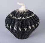 Baleen Basket with White Baleen Design and Whale Tail Finial